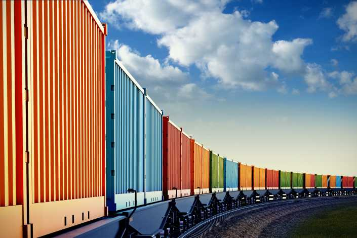 Freight train in green environment